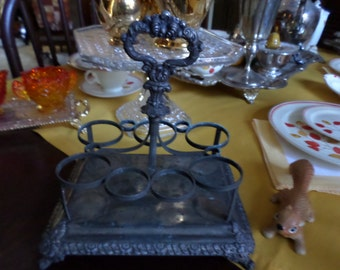 Victorian Ornate Metal/Silverplate Cruet/Condiment Holder/Egg Cruet-Handle and Seven Round Holders/Table/Serving