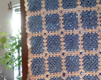 "Gorgeous Vintage Blue and White Afghan-68""x53""-Blanket/Lap/Comfort/Warm/Bedroom/Couch/Throw"