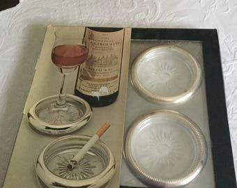 Vintage International Silver Co Round Glass Ashtray/Coaster Set in Original Box