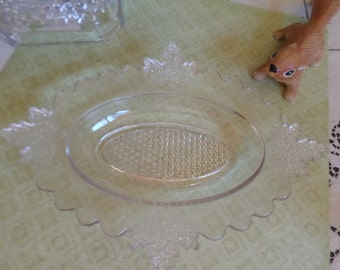 Antique Clear EAPG Depression Glass-Jones Cavit & Company 1887 Maple Leaf Handled Relish/Serving/Candy Dish/Bowl