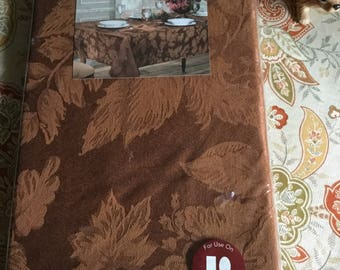 Vintage Unused in Package Damask Autumn Harvest Oblong/Oval Tablecloth