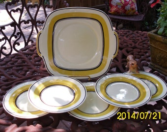 Art Deco-Retro Crown Pottery Staffordshire England-Cake Plate and Dessert Plates-Yellow/Chocolate Brown Stripe