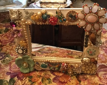 "8"" x 10""-Table Top/Wall Mirror-Handmade Embellished Jeweled/Jewelry/Brooch/Earring Wall Hanging Decorative Statement Piece"