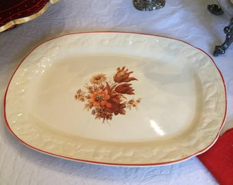 Mid Century Ivory Serving Platter/Tray/Plate-Rust/Orange/Yellow Floral Spray Red Trim-Embossed Edge