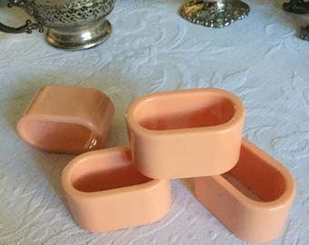 4-Oval Plastic Peach Napkin Ring/Holders-Table Decoration-Gotta Be Eighties