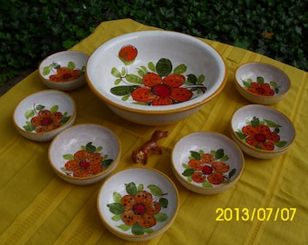 Vintage Retro Italy/Italian Terra Cotta/Pottery-Saladier Set/Salad/Serve-Bowl/Bowls-Bright Orange/Red Flowers/Floral