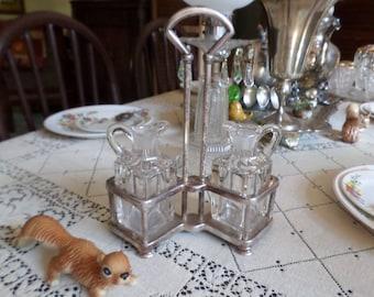 Antique Solid Silverplate Cruet Holder and Glass Bottles-Unique Shape-Square