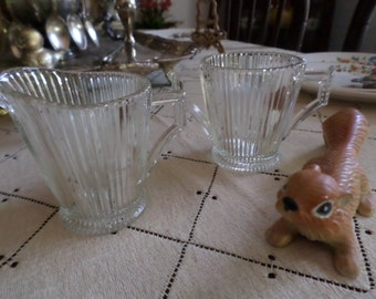 Vintage EAPG Ribbed Clear Glass Sugar Bowl/Dish and Creamer-Handles-Depression