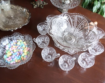 American Brilliant Cut Glass Daisy & Button Punch Bowl/Cups/Serving Bowl-EAPG