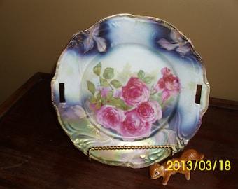 Antique Cake Serving/Display Plate/Dish-Vivid Pink Roses/Green/Blue/Gold Gilt