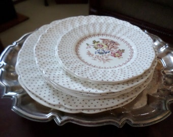 Vintage Royal Doulton England-Grantham-Dinner Plates/Salad/Dessert Plates Only-Floral Transferware/Polka Dot Edge