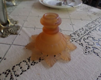 Gorgeous Vintage Westmorland Glass-Peach Taper Candlestick Holder-Fluted Base