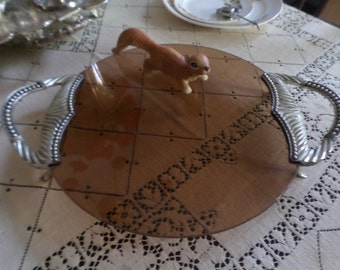 Lovely Vintage Smoked Glass and Silverplate Large Serving Tray/Bakery/Cake/Beverage/Centerpiece