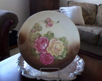"Z & S and Company Bavaria- Elegant/Fancy Roses 11 1/2"" Cabinet Plate/Dish-Brown/Pink"
