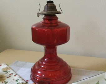 "Vintage Red Glass Oil Lamp/Lantern-11"" x 6""-Patio/Outdoor Decor"