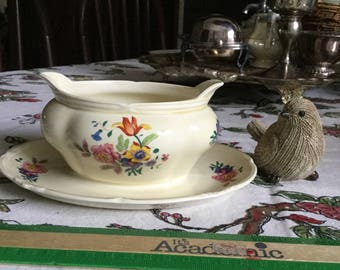 Grindley Tunstall England-Gravy Boat/Sauce Bowl and Attached Under Plate- Rainbow of Colored Florals