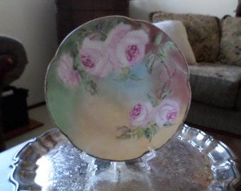 Antique Porcelain Plate/Dish/Display-Pink Peony/Rose-J&C Bavaria-Louise