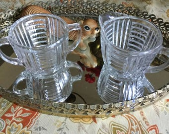 Vintage Bars Clear Glass Sugar Bowl/Dish and Creamer-Handles-Depression