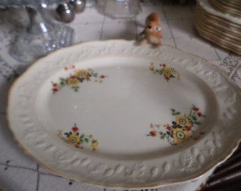 Gorgeous Vintage English Brambleberry Embossed Meat/Serving Platter-Embossed/Yellow Trim/Orange/Black/Red Flower Design