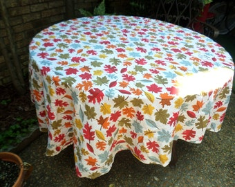 "Vintage Cotton Colorful Leaves-Fall Colors-76""x57"" Oval Tablecloth/Covering-Gorgeous"