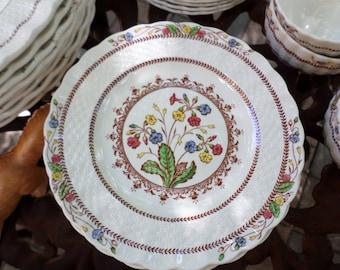 "Copeland Spode-England-Cowslip-Basketweave-Floral-Dessert Plate/Dish-7.25"""