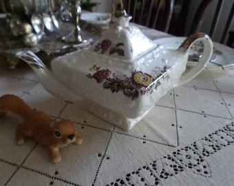 Last Chance-5 Piece Tea Set-Gorgeous Vintage Mason's China Teapot/Creamer/Sugar Bowl & Lid-Friarswood Pattern-England Ironstone