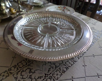 "Lovely Large Vintage Silverplate and Cut Glass Divided Relish/Lazy Susan/Tray-15"" Round"