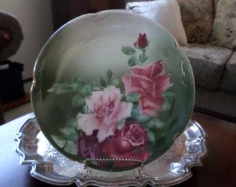 """K&G Guneville France- Elegant/Fancy Roses 10"""" Cabinet Plate/Dish-Green/Pink"""