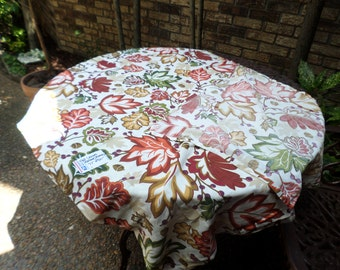 """Vintage Better Homes Cotton Colorful Leaves and Acorns-Fall Colors-77""""x50"""" Tablecloth/Covering-Gorgeous"""
