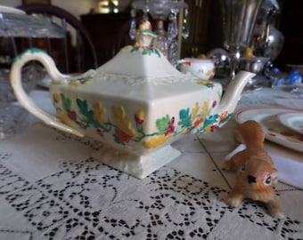 Gorgeous Rare Antique Mason's England-Oak-Embossed Colorful Fall Leaves/Acorns/Nuts Coffee Pot-Thanksgiving