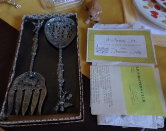 Vintage Around the World Shoppers Club-Florentine-Italian/Italy Ornate Silverplate Serving Set w/Original Paperwork & Box