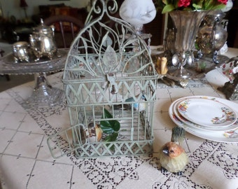 Vintage Green Distressed Metal Bird Cage with Hook to Hang-Indoor/Outdoor Use-No Birds