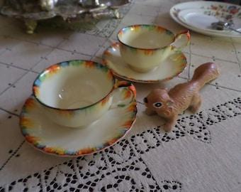 Super Rare Grindley Tunstall England-Chameleon-Cup & Saucer Set-Coffee/Tea-Rainbow Colors