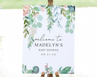 Mint and Coral Floral Drop Baby Shower Welcome Sign, Customizable Baby Shower Welcome Sign, Instant Download [id:4489155]