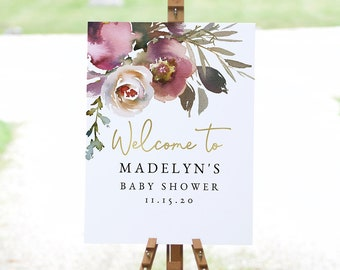Baby In Bloom Floral Baby Shower Welcome Sign, Customizable Baby Shower Welcome Sign Template, Welcome Sign Instant Download [id:5337481]
