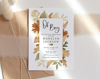Customizable Oh Boy Fall Leaves Baby Shower Invitation, Autumn Leaves Baby Shower Invite Template, Instant Download [id:8725674]