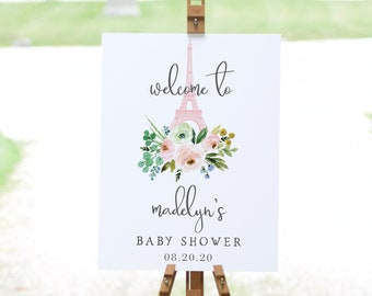 Customizable Paris Baby Shower Welcome Sign, French Baby Shower Welcome Sign Template, Shower Welcome Sign Instant Download [id:4838874]