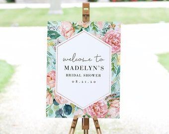 Mint and Coral Floral Bridal Shower Welcome Sign, Customizable Bridal Shower Welcome Sign, Instant Download [id:44888999]
