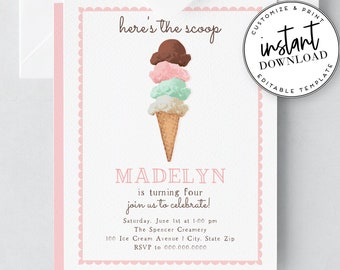 Ice Cream Birthday Party Invites, Ice Cream Social Invitation, and Envelope Liner Template, Instant Download [id:2035765,2035828]