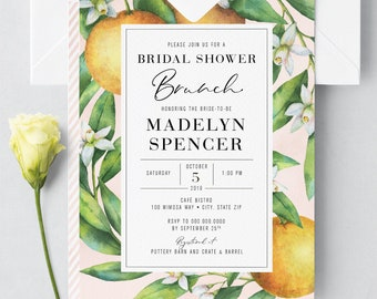 Beautiful Watercolor Brunch & Mimosas Bridal Shower Invitation