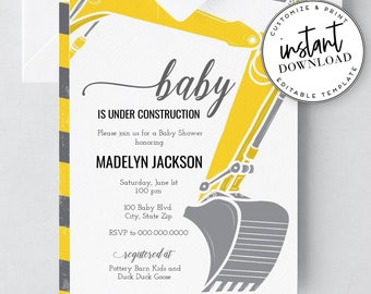 Construction Baby Shower Invites, Little Boy Baby Shower Invitations, and Envelope Liner Template, Instant Download [id:2040778,2040931]