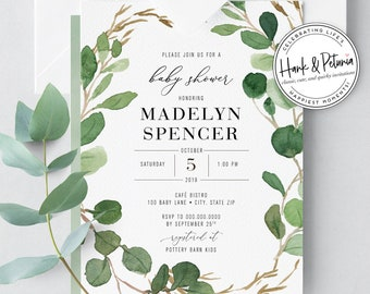 Eucalyptus Gender Neutral Green Baby Shower Invitation, Greenery Baby Shower, Rustic Baby Shower Invite, Boy Baby Shower Invitations