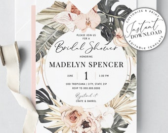 Boho Tropical Bridal Shower Invitation Template - Personalizable, Editable, Printable [id:1941063,1941135]