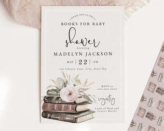 Books for Baby Shower Invitation Template, Customizable Library Baby Shower, Story Book Shower Editable Digital Invite [id:7240647]