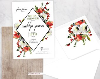 Winter Watercolor Bridal Shower Invitation, Winter Bridal Shower Invitation, Christmas Bridal Shower Invite, Envelope Liner