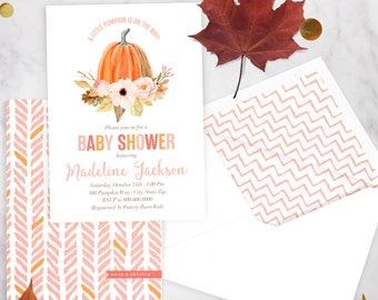 Little Pumpkin Baby Shower, Pumpkin Baby Shower, Fall Baby Shower Invitation, Baby Girl Shower Invite, Lined Envelope