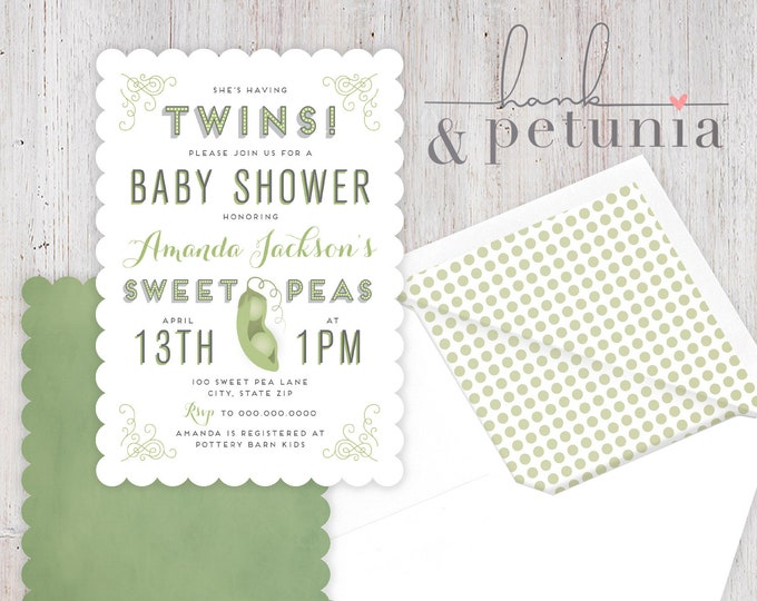Sweet Peas Baby Shower Invitation, Twin Baby Shower Invite, Pea Pod Invitation, Envelope Liner