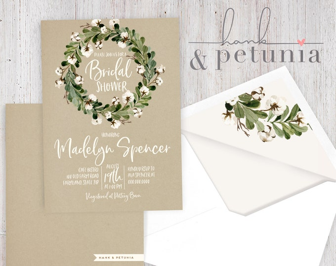 Rustic Wreath Bridal Shower Invitation, Farmhouse Bridal Shower Invite, Bridal Shower Invite, Envelope Liner