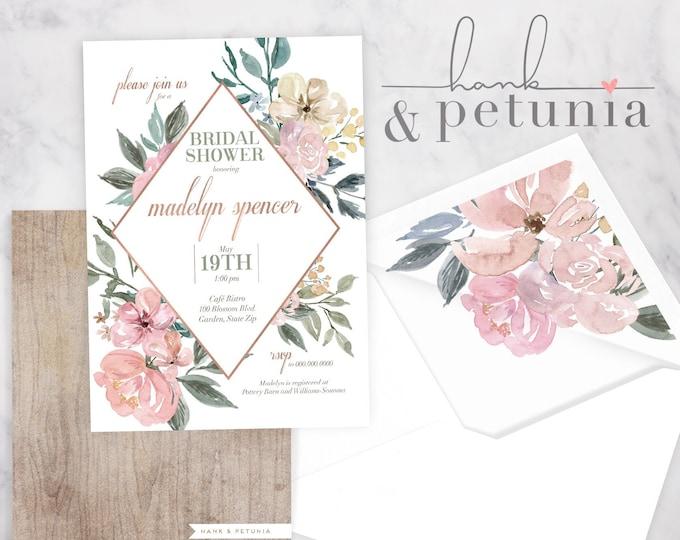 Rose Gold Floral Bridal Shower Invitation, Floral Bridal Shower Invite, Boho Chic Bridal Shower Invite, Envelope Liner