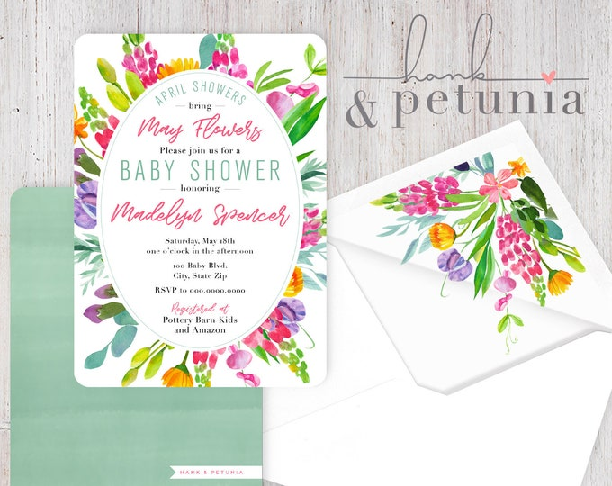 April Showers bring May Flowers Baby Shower Invitation, Floral Baby Shower Invitation, Envelope Liner